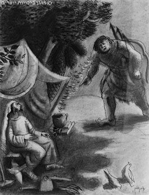 מכירת הבכורה. מאיורי המקרא של נחום גוטמן, 1933 (אתר מט''ח)